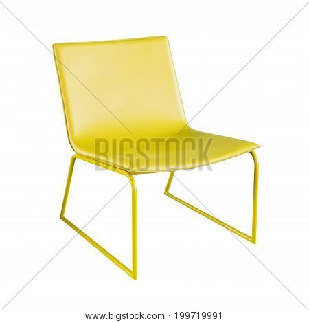 empty yellow chair or modern chair isolated on white