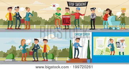 Harmful habit horizontal banners with people holding placards on demonstration against smoking and diseases because of cigarettes vector illustration