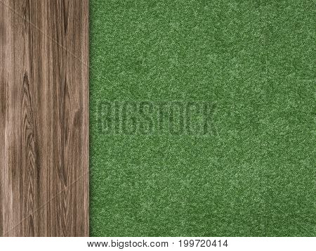 3d rendering green grass with wooden floor top view