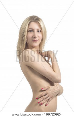 An Emotional Portrait, A Naked Girl On A White Background.
