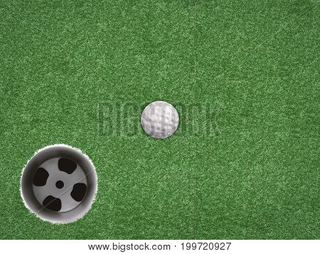 3d rendering top view golf ball with golf cup on green background