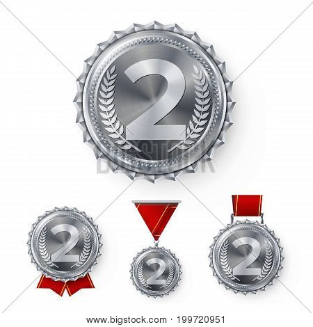 Champion Silver Medals Set Vector. Metal Realistic 2nd Placement Winner Achievement. Number Two. Round Medal With Red Ribbon. Relief Detail. Best Challenge Award