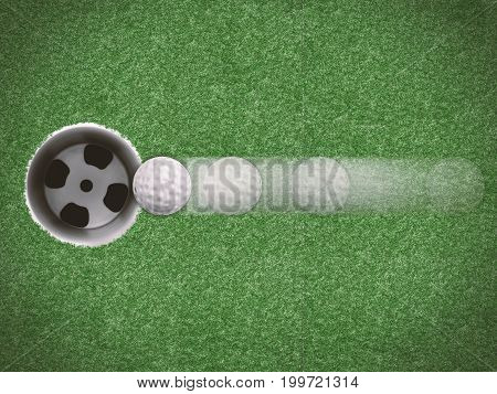 3d rendering golf ball move directly to golf cup