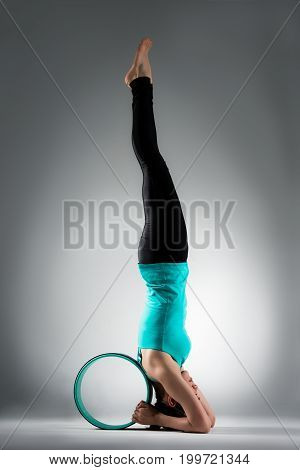 Young Lady Fitness Student Handstand On Floor