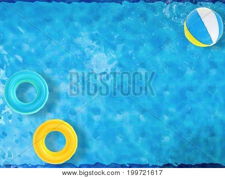 Beach Balls And Swim Rings Floating On Pool