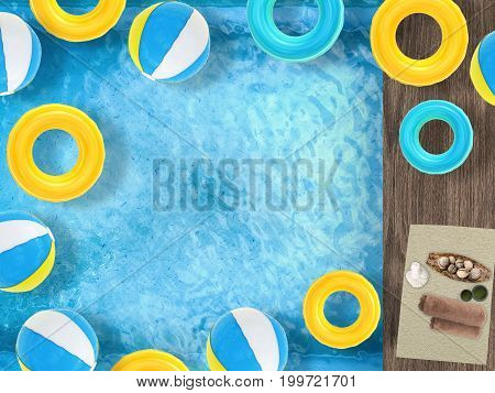 3d rendering swim rings beach ball on pool and spa accessories