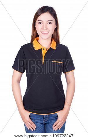 Woman In Black Polo Shirt Isolated On White Background