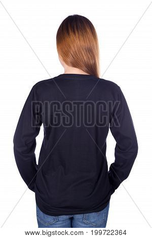 Woman In Black Long Sleeve T-shirt Isolated On White Background (back Side)