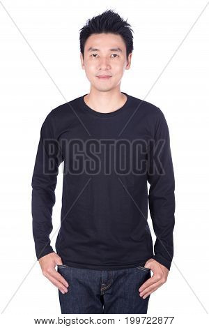 Happy Man In Black Long Sleeve T-shirt Isolated On White Background