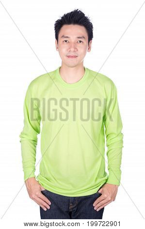 Man In Green Long Sleeve T-shirt Isolated On A White Background