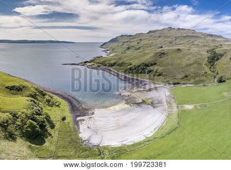 Aerial view of the bay called Camas nan Geall, Ardnamurchan, Scotland