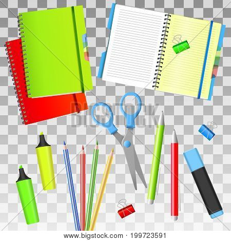 Back to School. Back to School realistic iIsolated objects. Isolated school supplies. Vector illustrations.