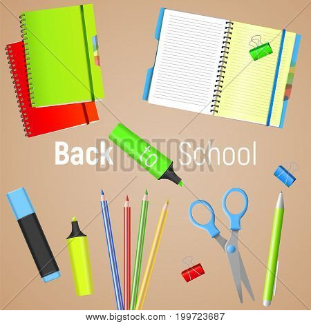 Back to School. Back to School colorful poster with realistic school supplies. Vector illustration