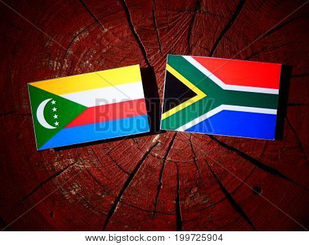 Comoros Flag With South African Flag On A Tree Stump Isolated