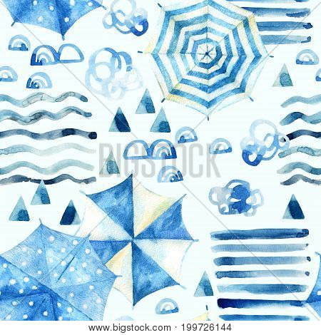 Abstract watercolor beach background. Stylized summer vacation seamless pattern: water waves umbrellas rocks mountain with paper texture. Hand painted watercolour illustration in minimal style