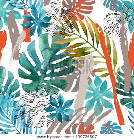 Cool abstract painting. Modern watercolor illustration with tropical leaves grunge marbling textures rough brush strokes doodles minimal elements. Creative poster with hand drawn shapes
