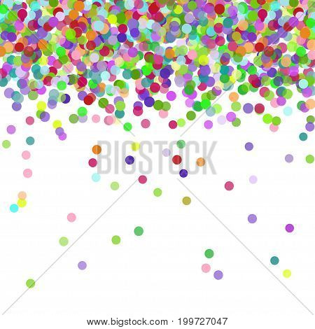 Multicolored paper confetti on white background. Realistic holiday decorations flying. Background for holiday cards, greetings. Colorful flying falling the elements of decoration of the celebration.