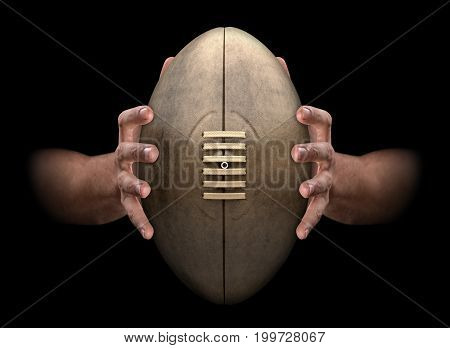 Hands Gripping Rugby Ball