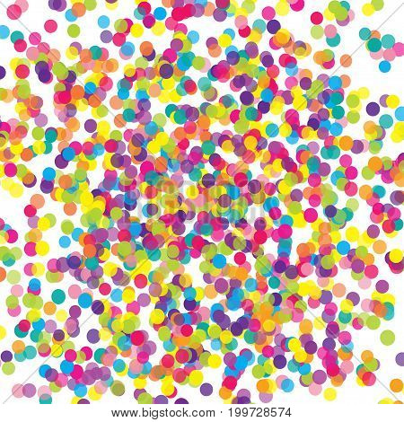 Multicolored paper confetti on white background. Realistic holiday decorations flying. Background for holiday cards, greetings. Colorful scattered elements decoration of the celebration.