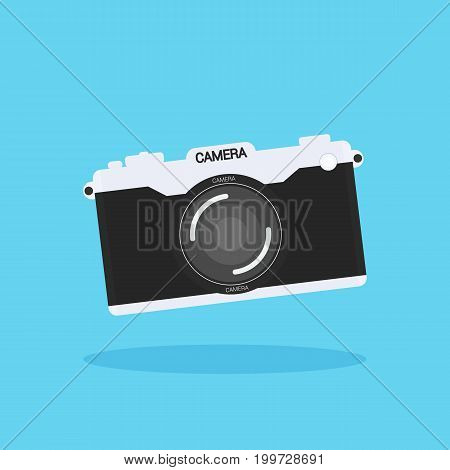 Camera of retro or vintage in a flat style on a colored background.