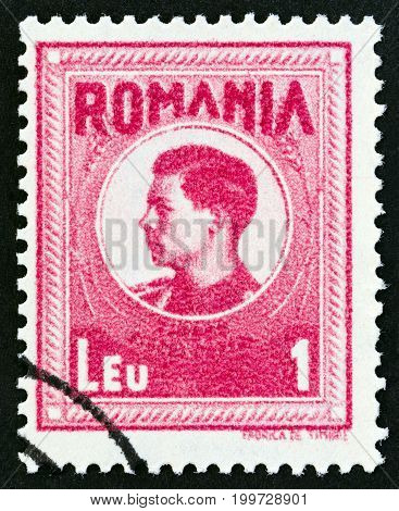 ROMANIA - CIRCA 1943: A stamp printed in Romania shows Michael I of Romania, circa 1943.