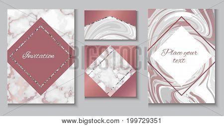 Marble brochure layout, wedding invitation set, business card template or background in trendy minimalistic geometric style, stone, granite, gold rose texture, vector fashion wallpaper, poster, cover