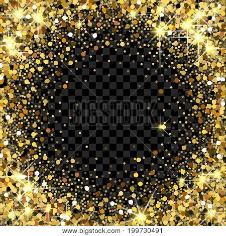 Gold glitter frame with empty space for text. Scattered golden confetti border on transparent background. Bright shining gold. Rich luxury fashion glitter backdrop. Golden round dots.