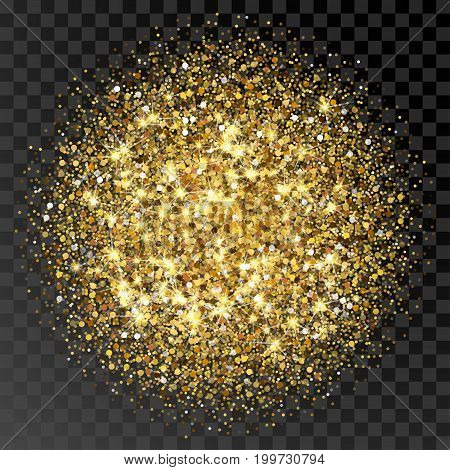 Golden glittering circle made of dots. Luxury golden round dots on transparent black backdrop. Amber particles gold confetti.