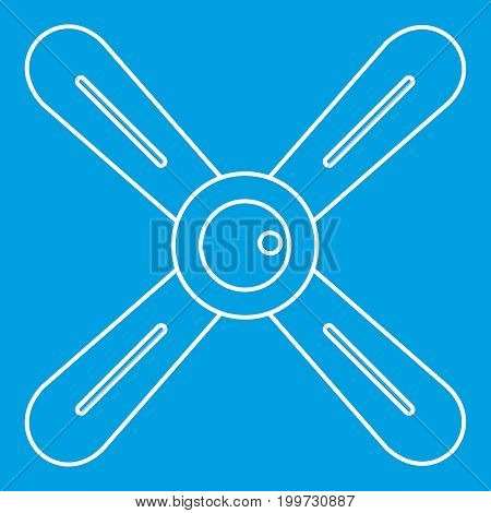 Propeller icon blue outline style isolated vector illustration. Thin line sign