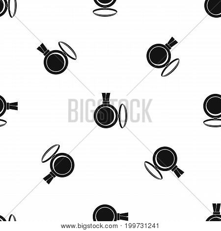 Medallion pattern repeat seamless in black color for any design. Vector geometric illustration