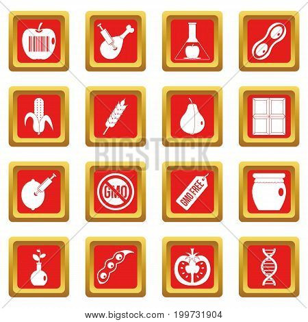 GMO icons set in red color isolated vector illustration for web and any design