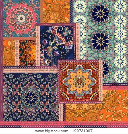 Patchwork pattern. Stylized flowers. Indian arabic moroccan motives. Ethnic print for fabric.