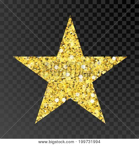 Gold glitter vector star. Golden sparcle star on black transparent background. Amber particles gold confetti.