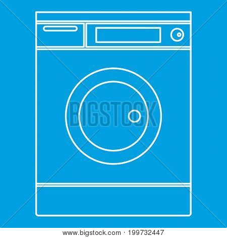 Washing machine icon blue outline style isolated vector illustration. Thin line sign
