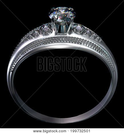 White gold engagement ring with diamond gem. Luxury jewellery bijouterie from silver or platinum with gemstone. 3D rendering matte surface of product on black background. Shining stones close-up.