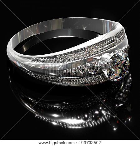 Silver band for engagement with gem. Diamond facetes luxury jewellery bijouterie ring from white gold or platinum gemstone. Ring with reflection is on mirror surface. 3D rendering on black background