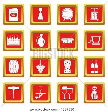 Wine icons set in red color isolated vector illustration for web and any design