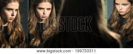 Hairdresser and barber. Girl look at mirror. Beauty and fashion. Skincare and salon. Woman with long hair and pretty face.