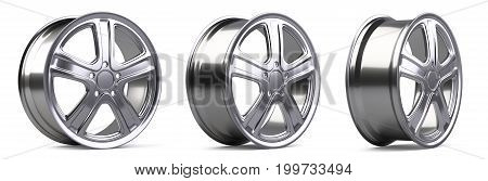Aluminum alloy wheels set. 3D illustration high quality resolution. Isolated on a white backround.