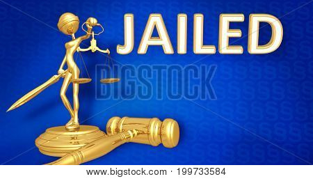 Jailed Law Concept Lady Justice The Original 3D Character Illustration