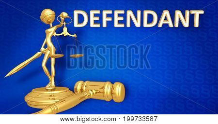 Defendant Law Concept Lady Justice The Original 3D Character Illustration