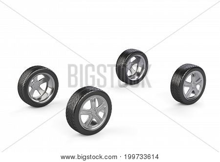 Four car wheels on a white background. 3d render illustration