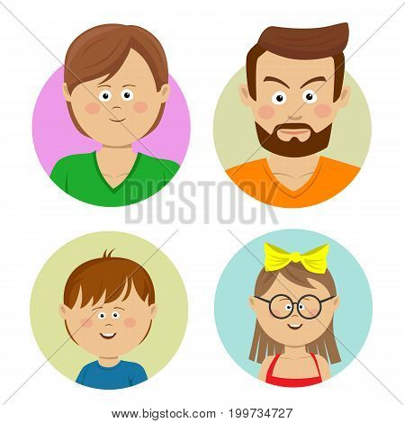 Happy family faces. Vector flat avatars. Mother, father, teen, sister, brother. Isolated on white