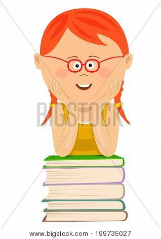 Cute little red-haired nerd girl with glasses leans on a stack of books over white background