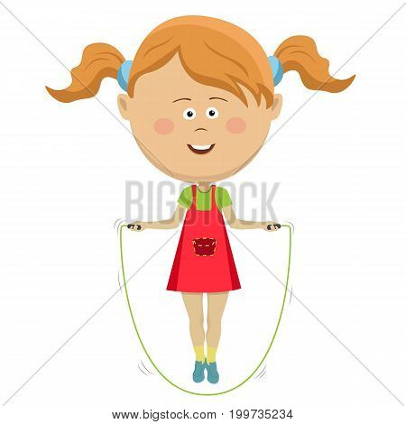 Cute little girl jumping with a skipping rope isolated on white background