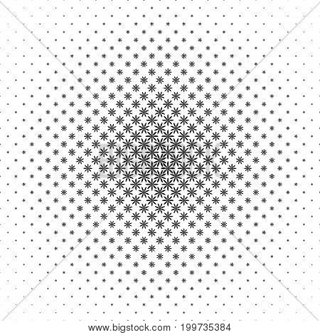 Monochrome geometrical stylized flower pattern - abstract floral vector background illustration from curved shapes
