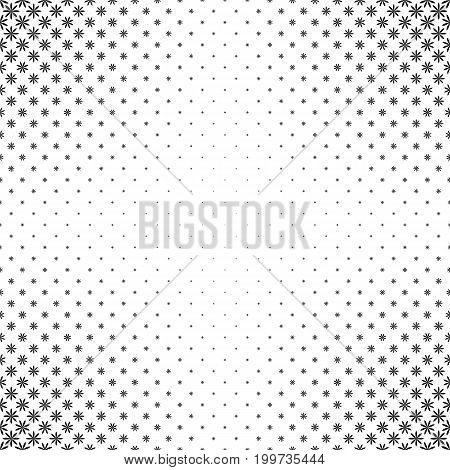 Monochrome geometrical stylized flower pattern - abstract floral vector background design from curved shapes