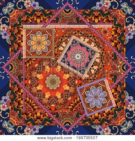 Beautiful floral pattern in patchwork style. Indian, arabic, aztec, moroccan, mexican motives.