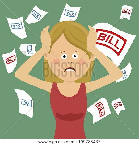 Young desperate unhappy woman with bills and tax while shouting out