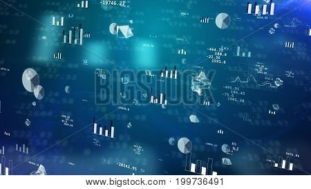 Professional 3D illustration of stock exchange profit with glittering pie charts histograms bar charts decimal digits hi-tech figures spheres. The dark blue background has a palette of tints